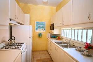 fully equipped kitchen in this st john villa rental